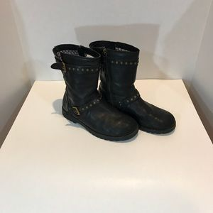 UGG black leather combat boots. Size 5.